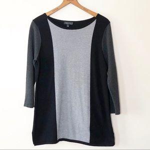 Spense Color Block Sweater Boat Neck Gray & Black